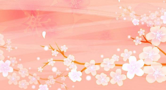 唯美古代桃花手绘